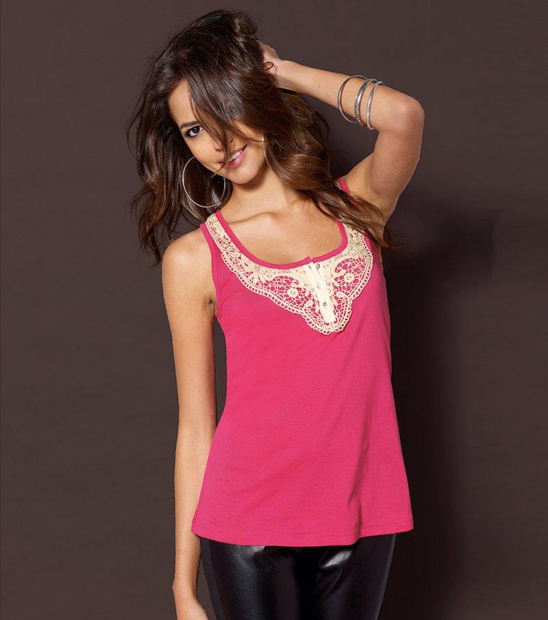 Camiseta mujer sin mangas 100% algodón con guipur