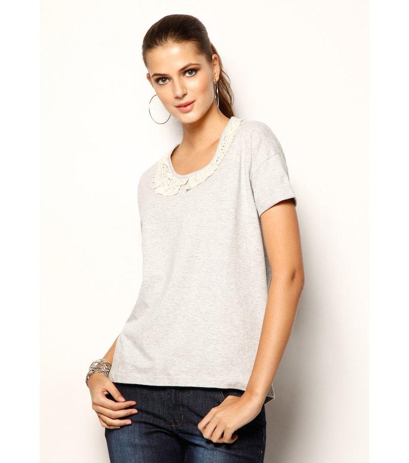 Camiseta mujer manga corta 100% algodón con guipur