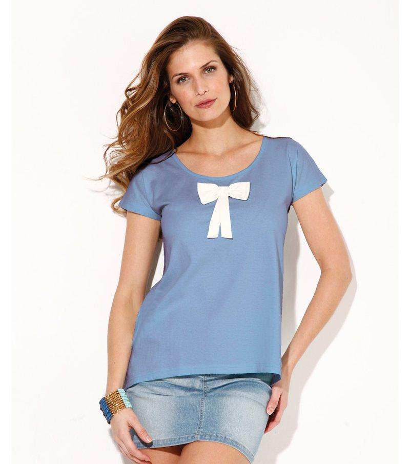 Camiseta mujer manga corta con lazo 100% algodón