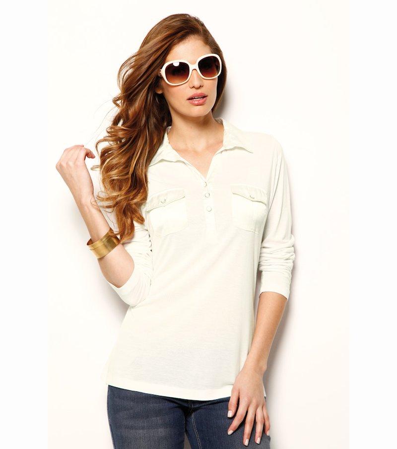 Camiseta polo mujer manga larga con detalles satén