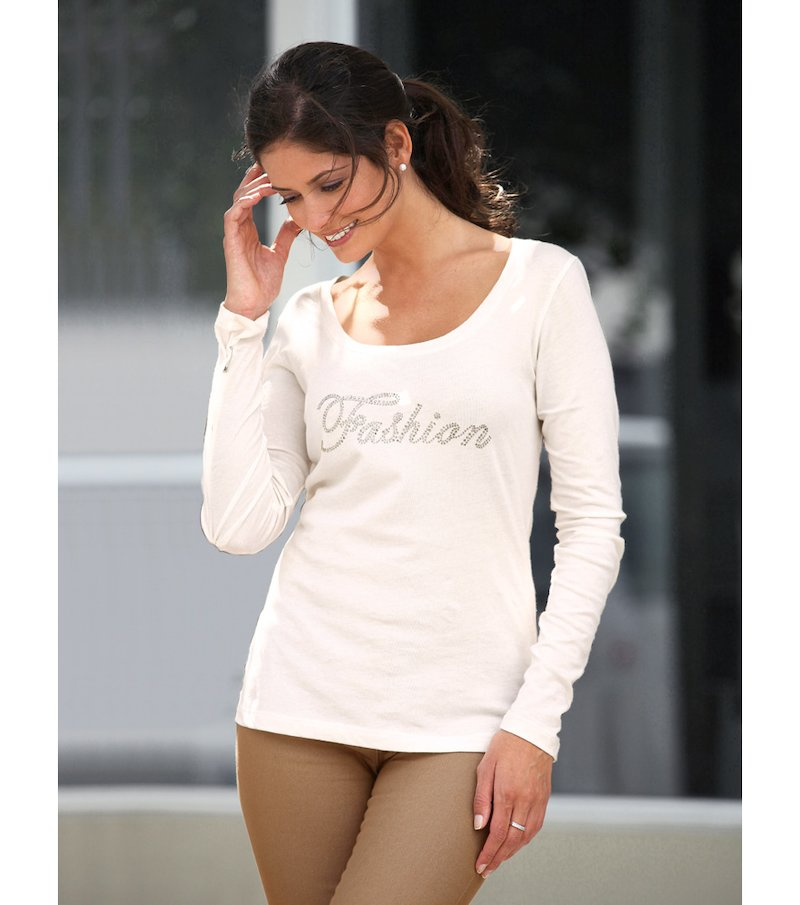 Camiseta mujer manga larga con strass 100 algodón