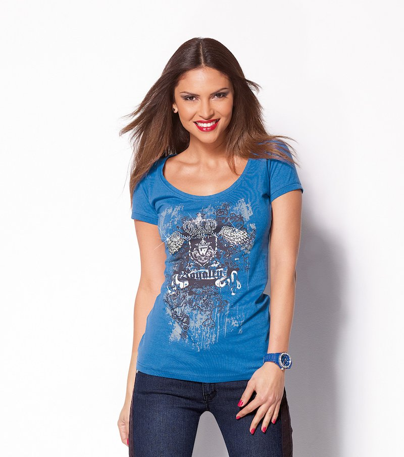 Camiseta mujer manga corta estampada con strass - Azul