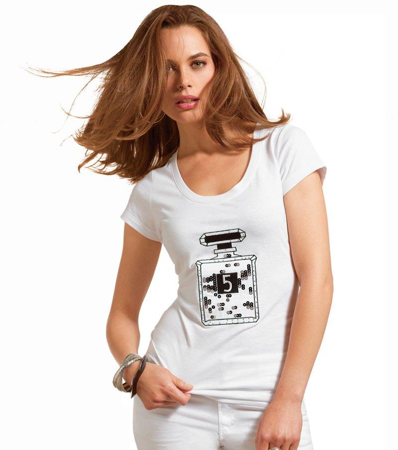 Camiseta mujer manga corta estampada algodón