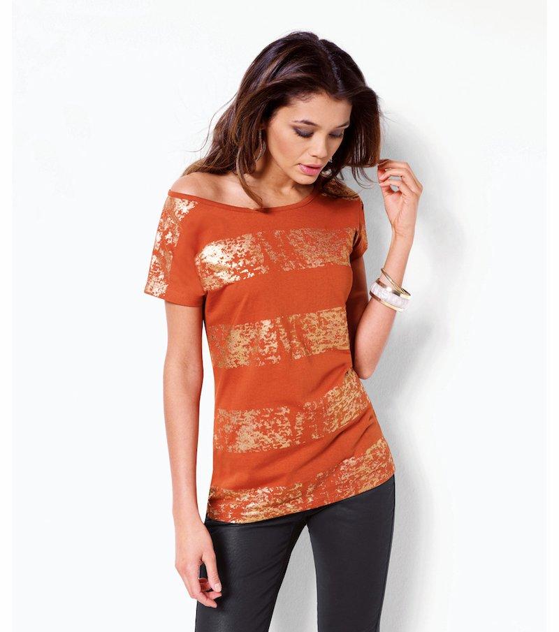 Camiseta mujer manga corta con bandas metalizadas