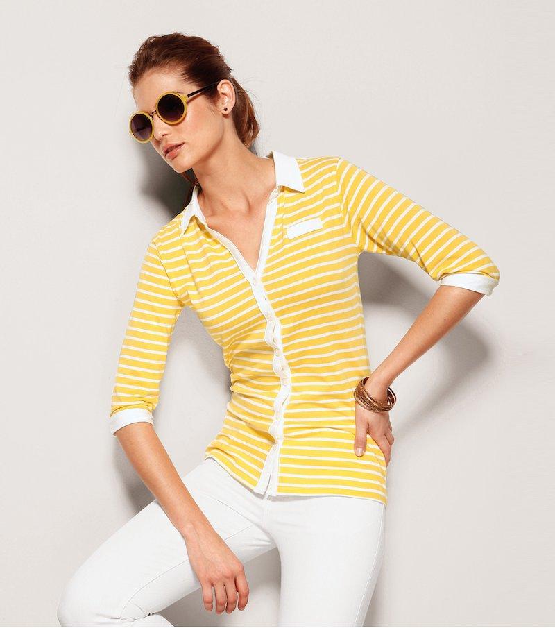 Camiseta polo mujer manga larga - Amarillo