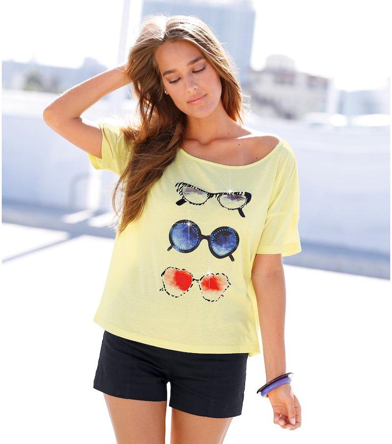 Camiseta mujer corte cuadradao estampada