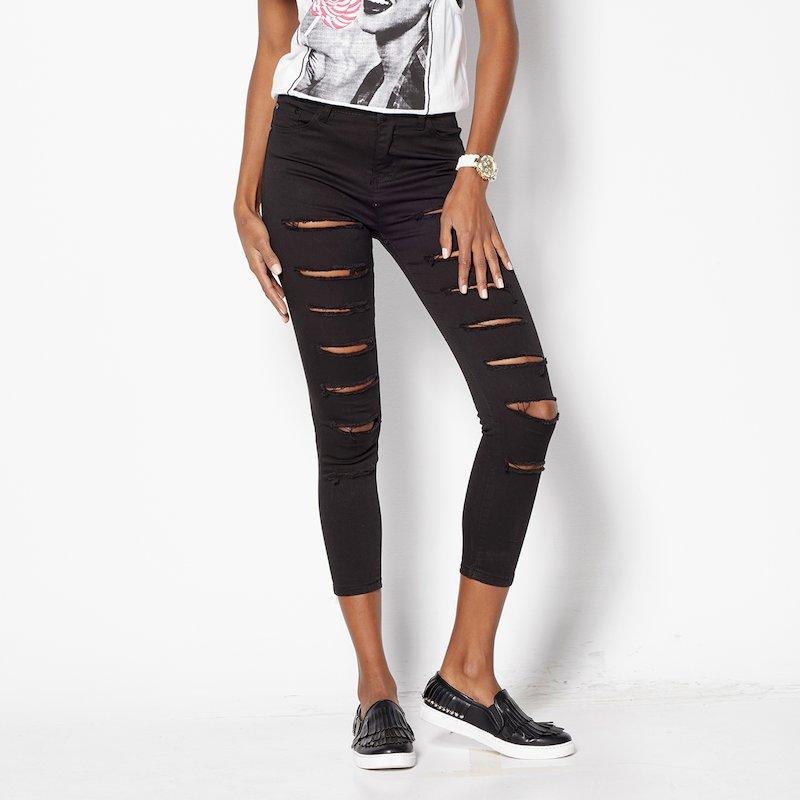 Pantalón alto vaquero negro mujer con rotos