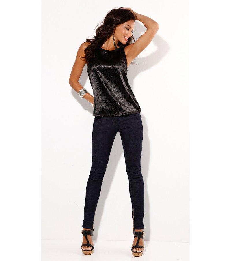 Pantalón largo vaquero jeans mujer elástico con cremalleras