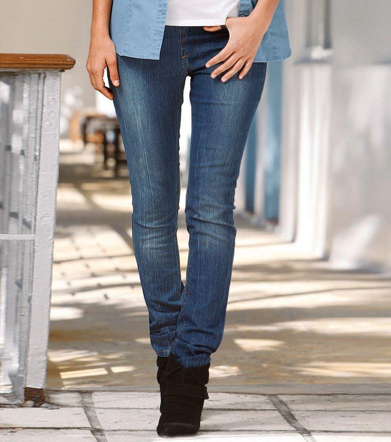 Pantalón largo jeans vaquero mujer corte pitillo