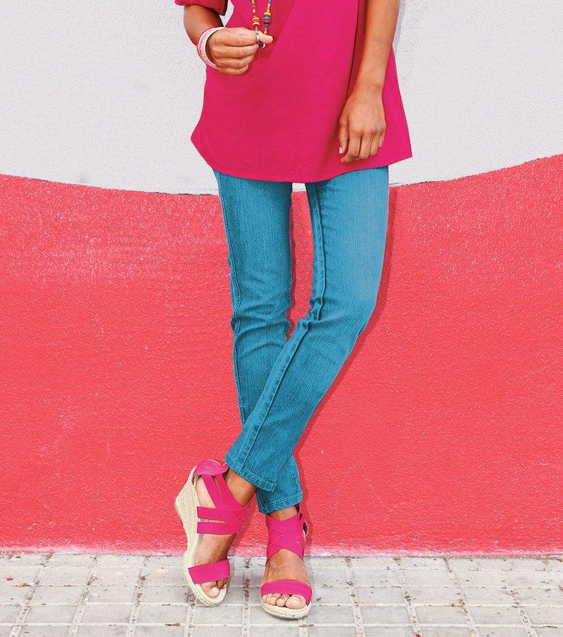 Pantalón vaquero jeans mujer pitillo elástico - Azul