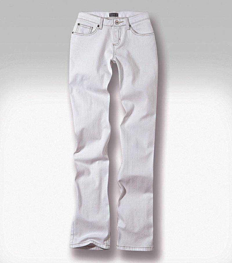 Pantalón vaquero jeans mujer corte recto elástico - Blanco
