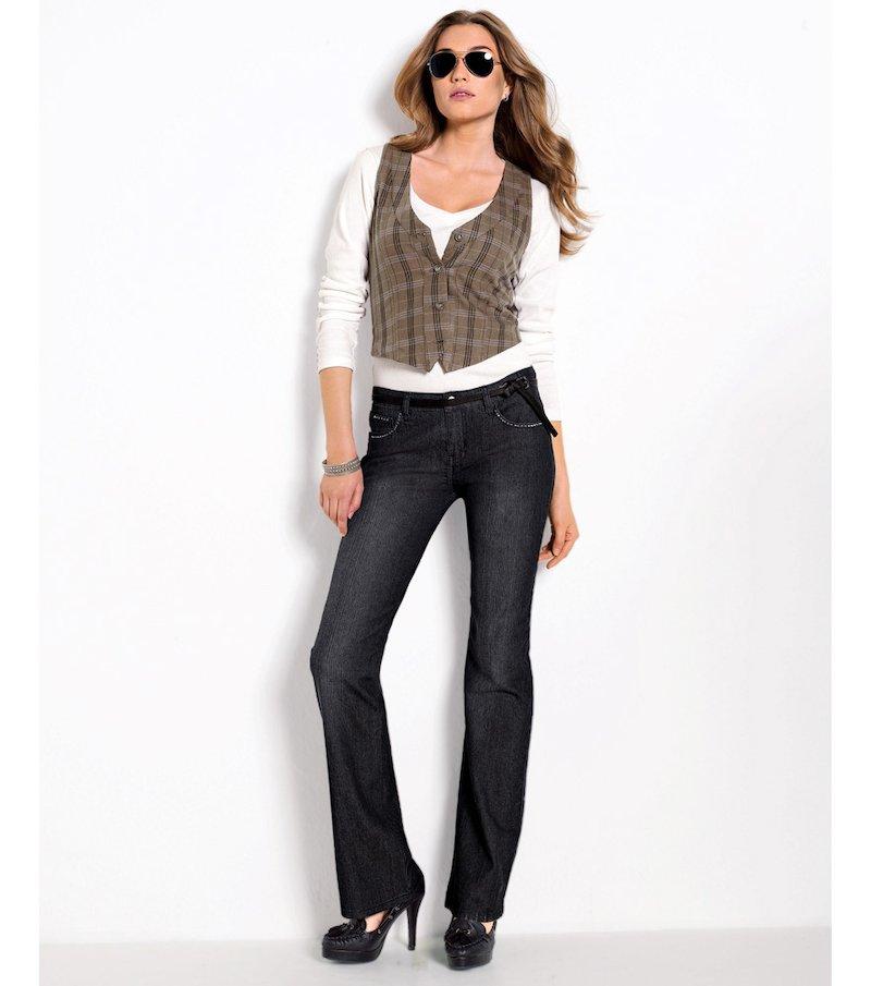 Pantalón largo vaquero jeans mujer corte bootcut - Azul