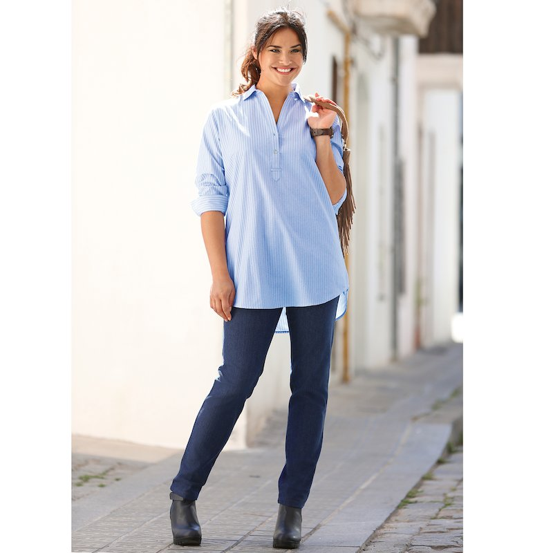Pantalón vaquero mujer elástico cinturilla plana