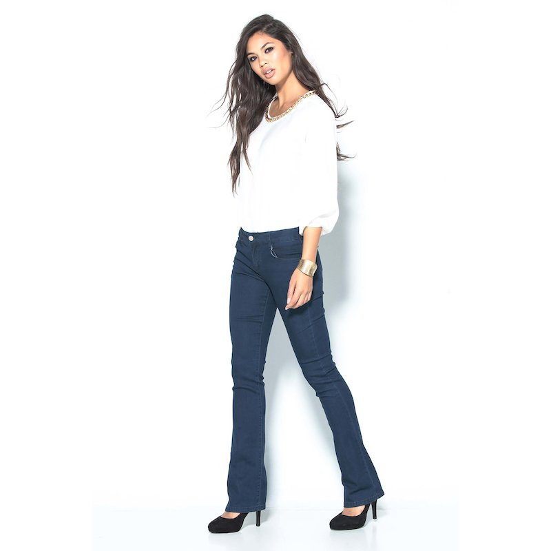 Pantalón largo vaquero jeans mujer elástico azul