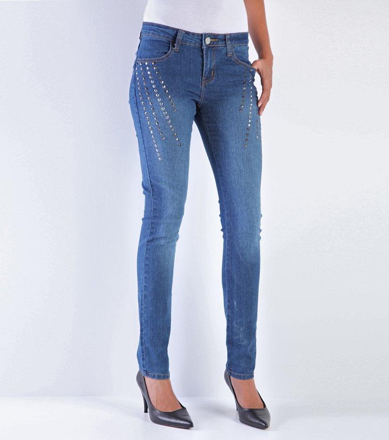 Pantalón largo vaquero jeans mujer con tachuelas - Azul