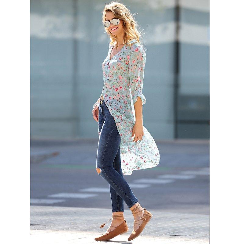 Pantalón largo vaquero elástico mujer con rotos