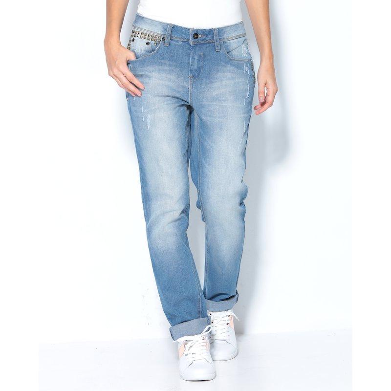 Pantalón vaquero jeans mujer con tachuelas - Azul