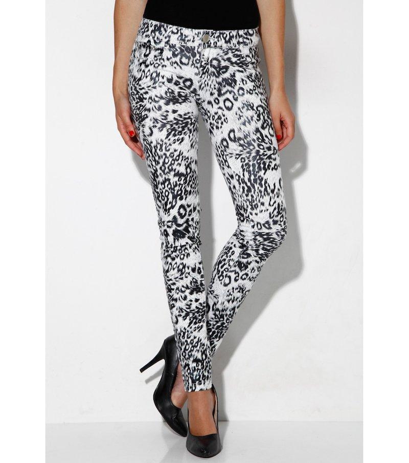 Pantalón largo mujer elástico print animal - Negro