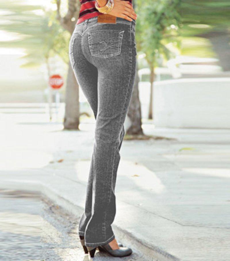 Pantalón vaquero jeans mujer elástico tiro alto - Azul