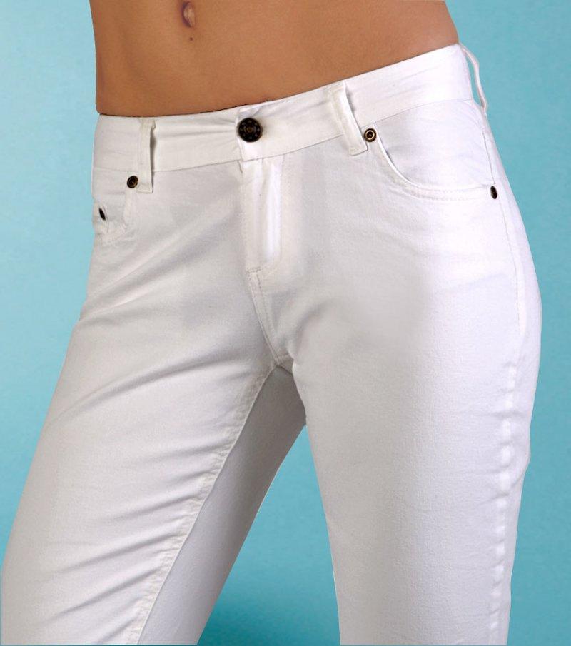 Pantalón largo vaquero jeans mujer de tiro bajo - Blanco