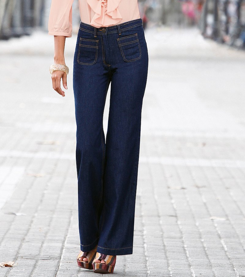 Pantalón largo vaquero jeans mujer 100% algodón - Azul