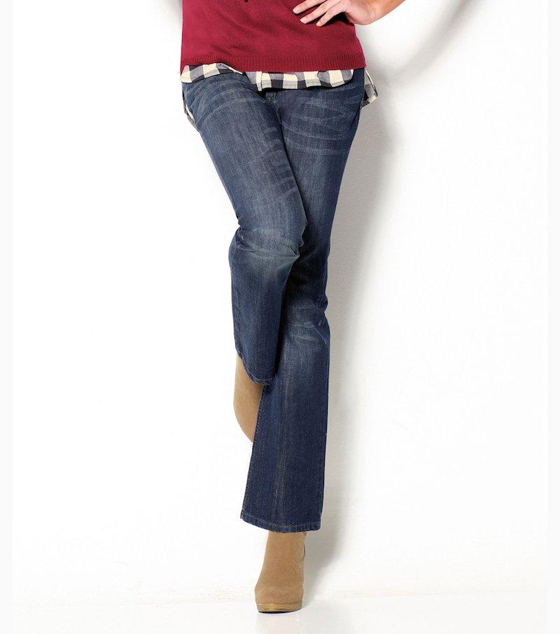 Pantalón largo vaquero jeans mujer corte recto - Azul