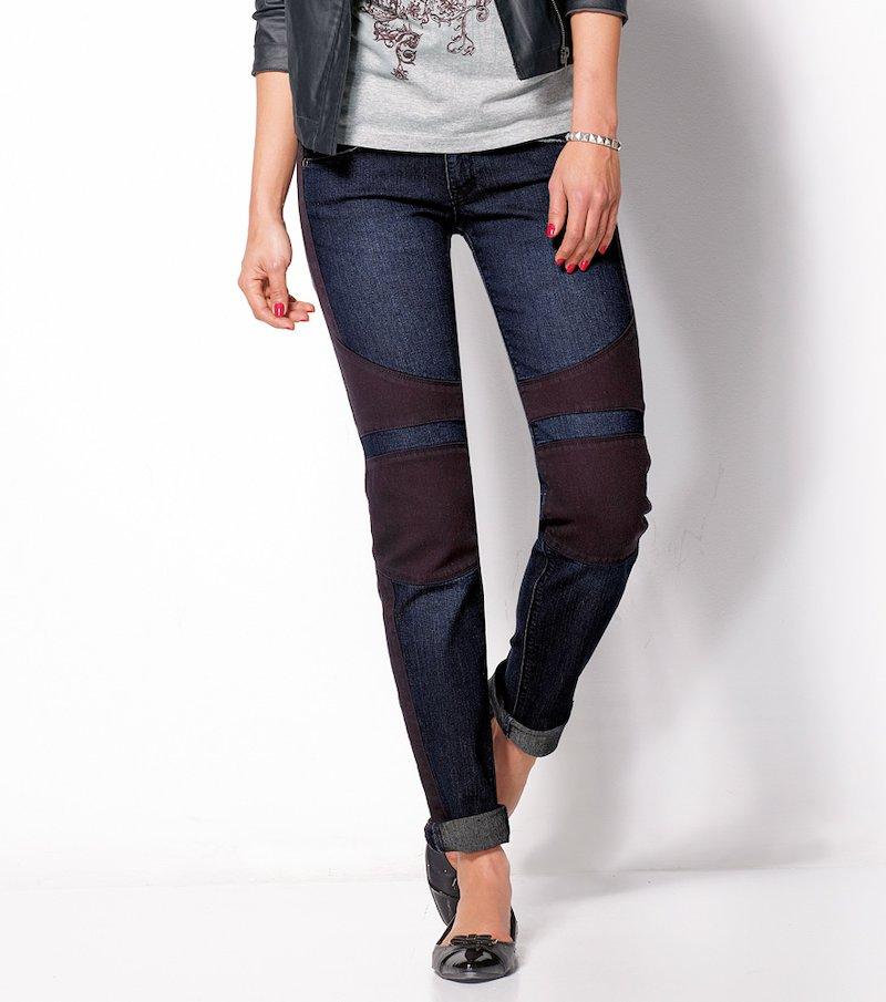 Pantalón largo vaquero mujer con piezas elástico - Azul