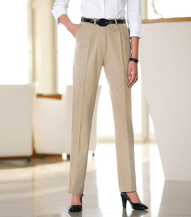 Pantalón largo mujer de vestir tejido elástico - Beige