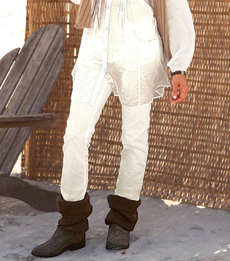 Pantalón largo mujer de micropana - Beige