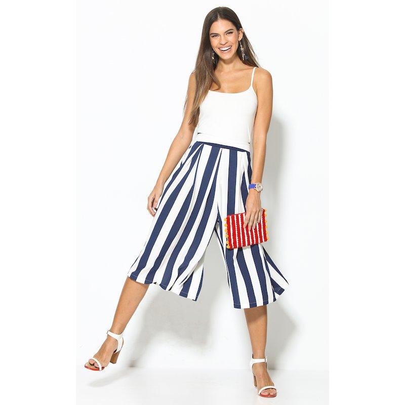 Pantalón culotte mujer estampado de rayas azules