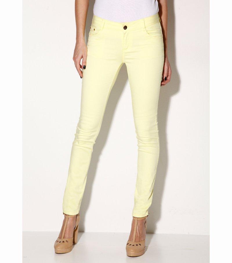 Pantalón largo pitillo slim mujer elástico limón