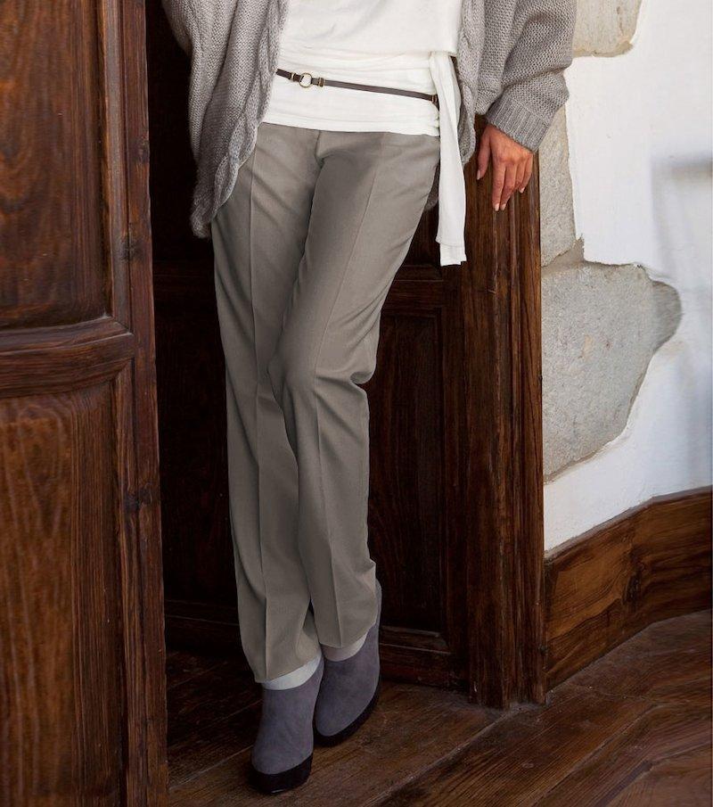 Pantalón mujer de vestir elástico - Beige