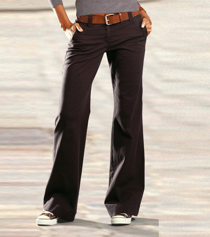 Pantalón largo recto mujer - Marrón