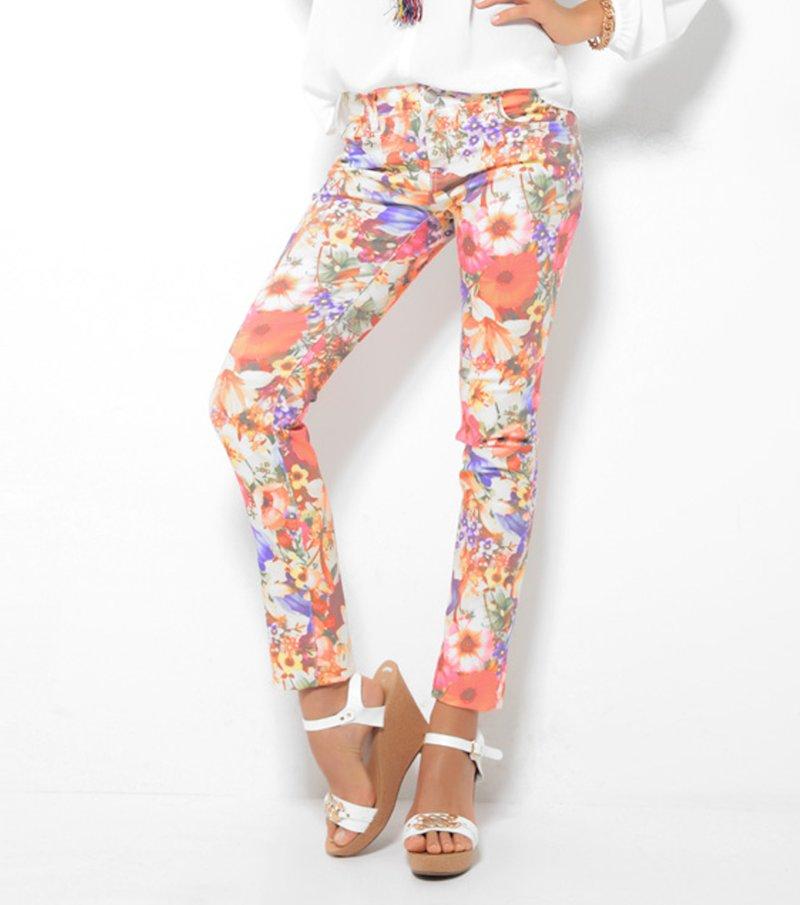 Pantalón largo mujer elástico estampado flores
