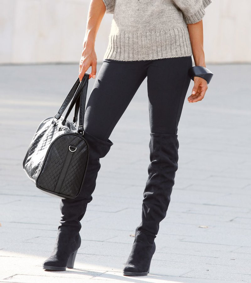 Pantalón largo mujer de punto - Negro