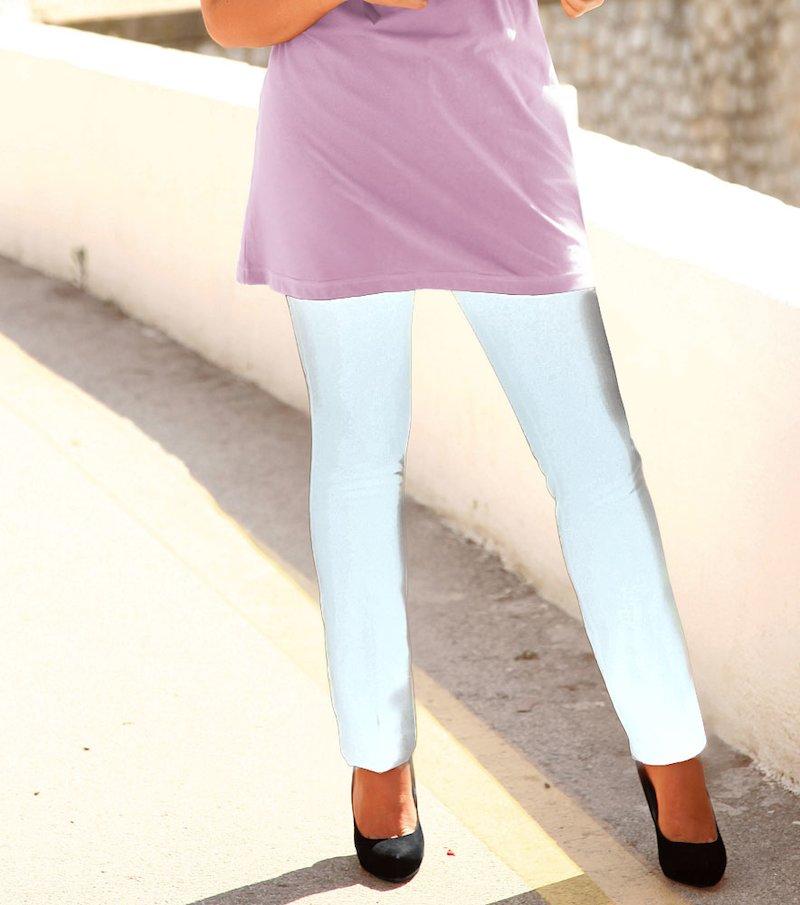 Pantalón largo mujer corte slim tiro alto - Blanco