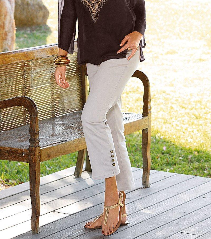 Pantalón corsario mujer elástico con botones