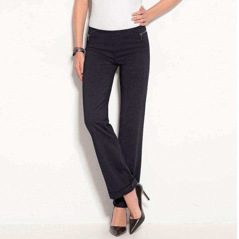 Pantalón largo con vuelta en bajo tejido milano - Negro