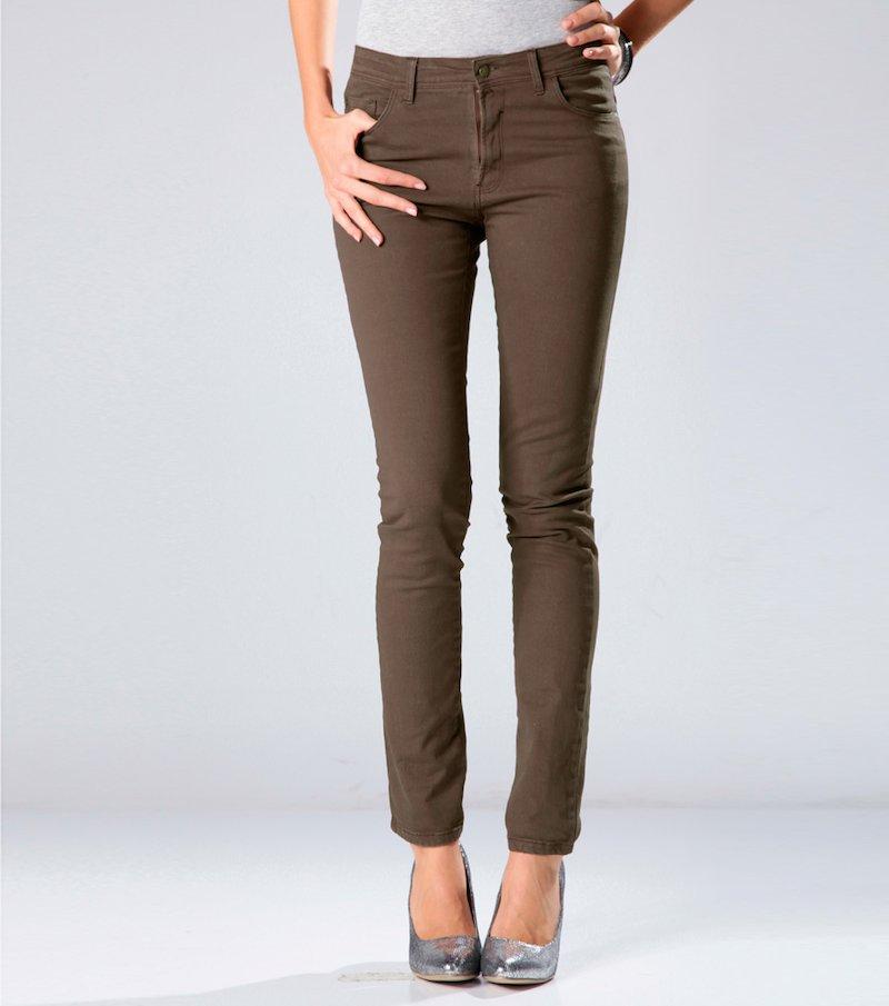 Pantalón largo pitillo mujer tiro medio elástico