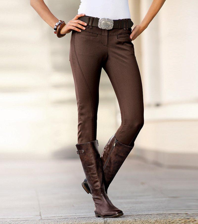 Pantalón largo mujer corte hípico - Marrón