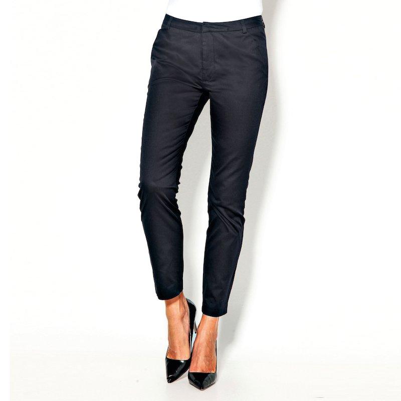 Pantalón largo liso tobillero mujer elástico