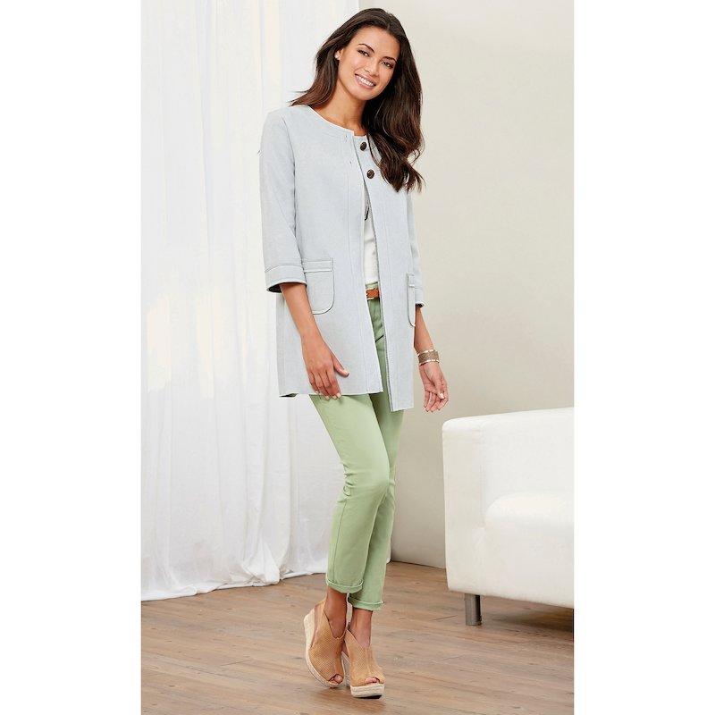 Pantalón largo liso tobillero mujer elástico - Verde