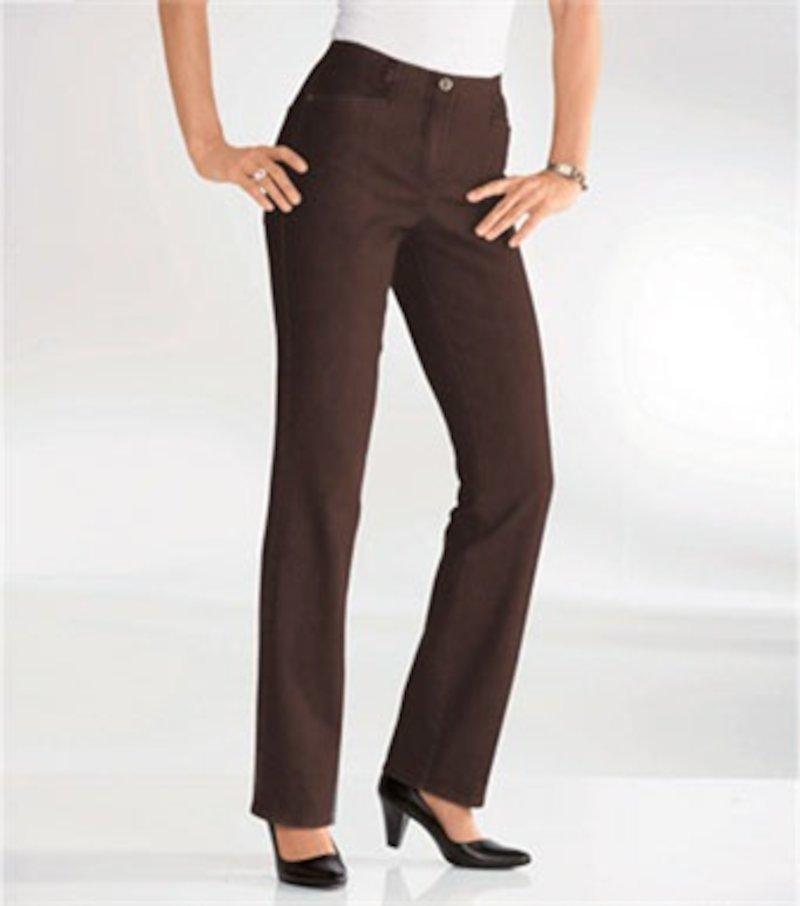 Pantalón largo mujer recto cintura elástica - Marrón