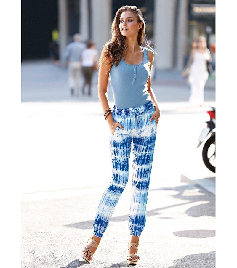 Pantalón largo mujer estampado degradado - Azul
