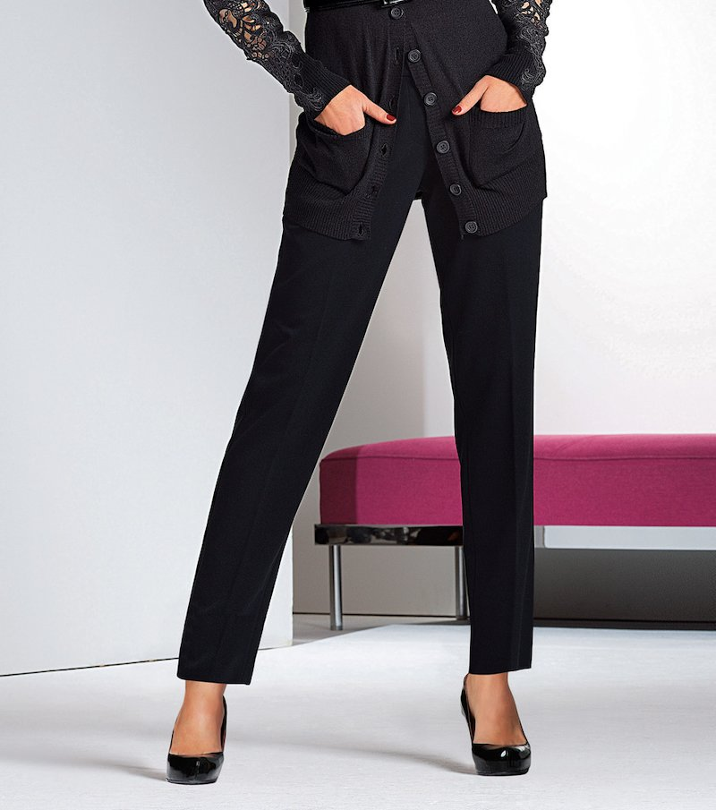 Pantalón largo mujer de corte recto elástico - Negro
