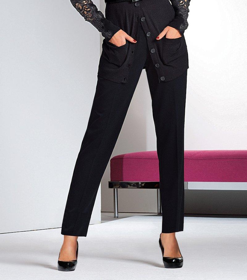 Pantalón largo mujer de corte recto elástico