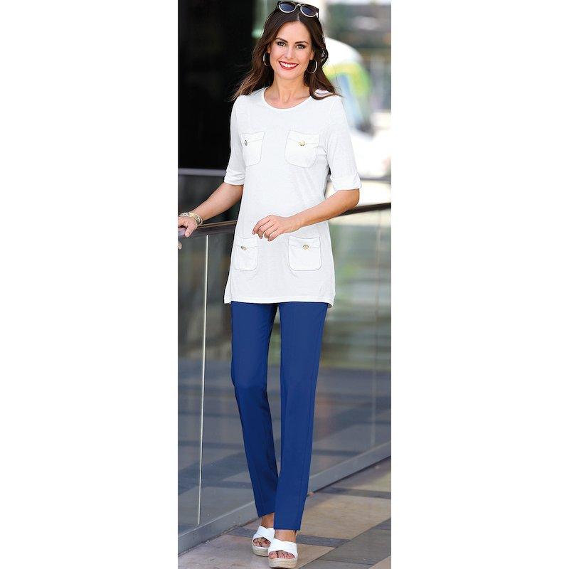 Pantalón largo mujer de tiro alto elástico - Azul