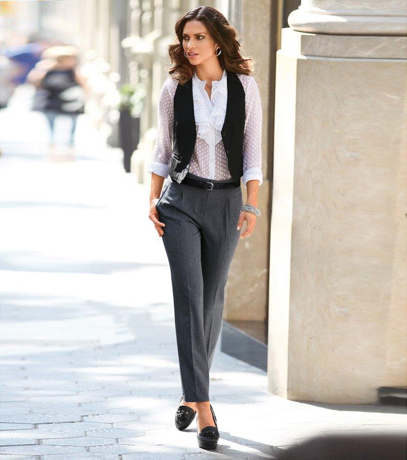 Pantalón mujer de vestir tiro alto - Gris