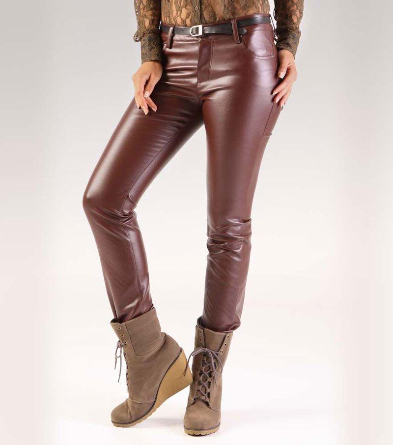 Pantalón largo mujer símil piel - Marrón