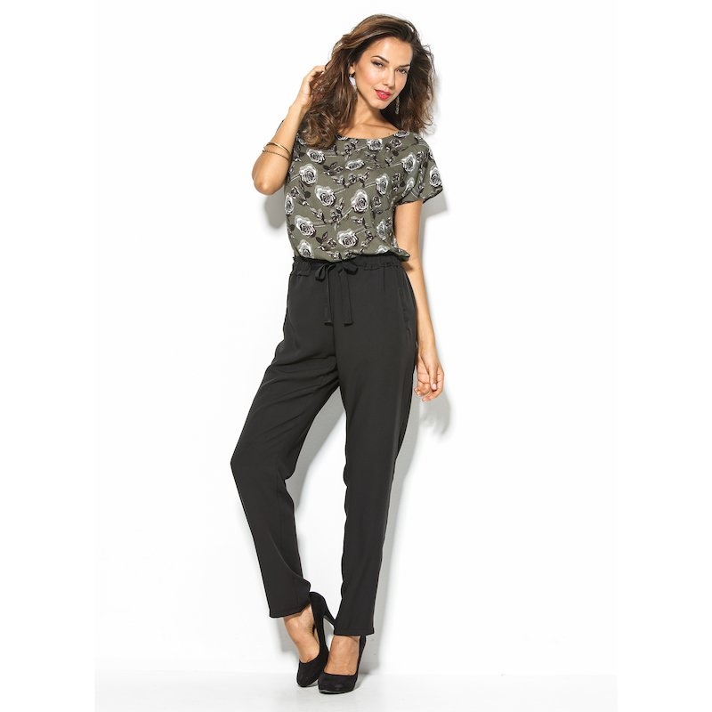 Pantalón largo mujer con cintura elástica negro - Negro